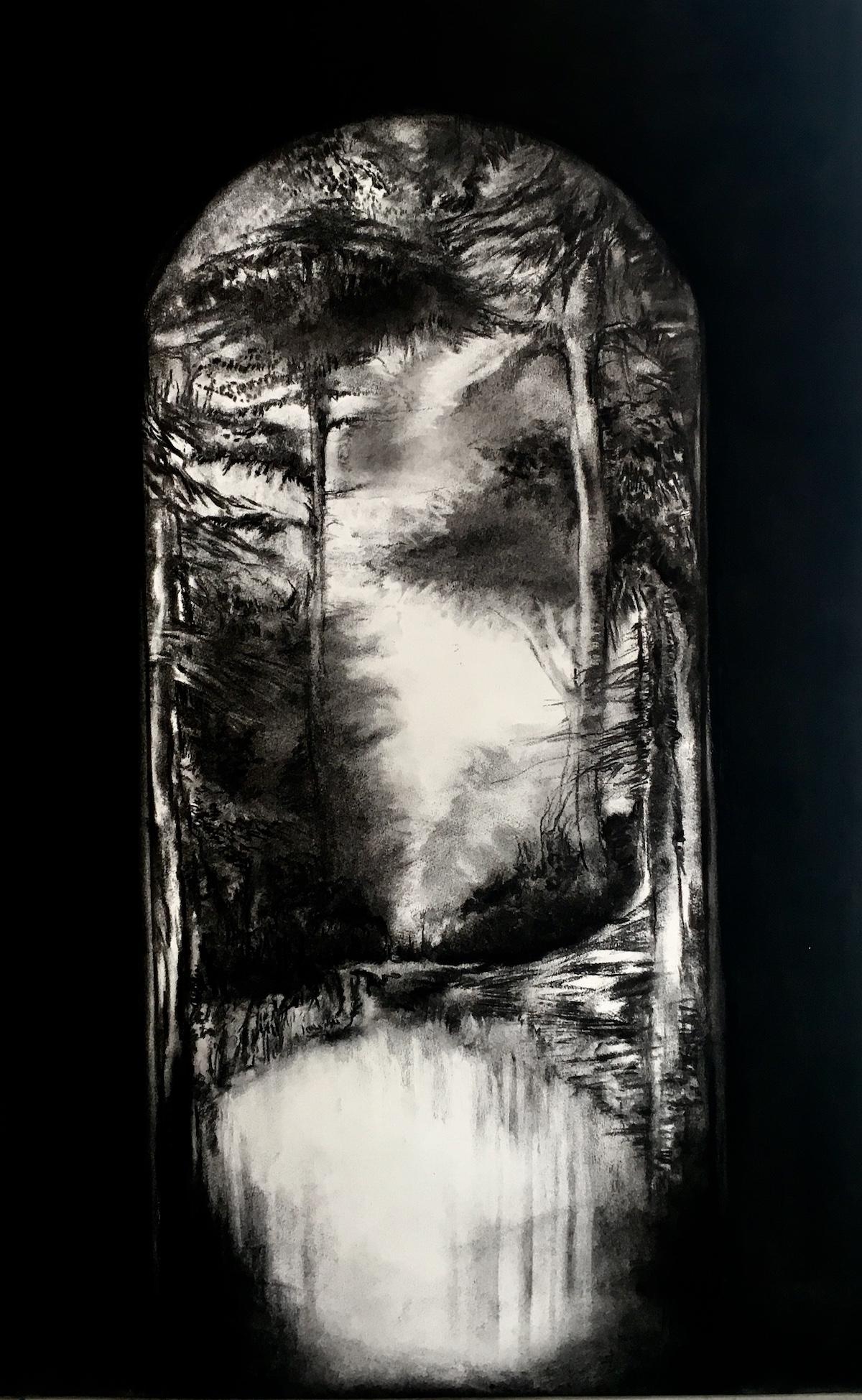 Fusain et résine sur papier - Claude Como - Paradise Lost II